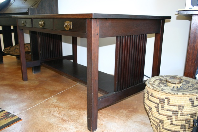 Admirable Gustav Stickley Spindle Library Table Desk Download Free Architecture Designs Scobabritishbridgeorg